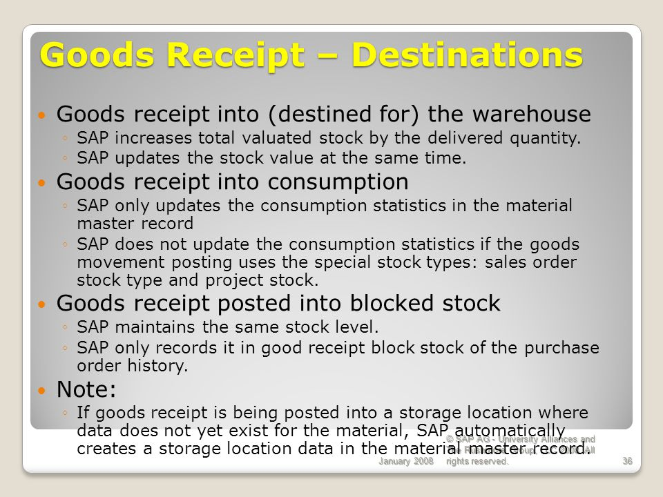 Goods Receipt – Destinations