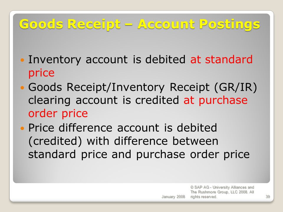 Goods Receipt – Account Postings