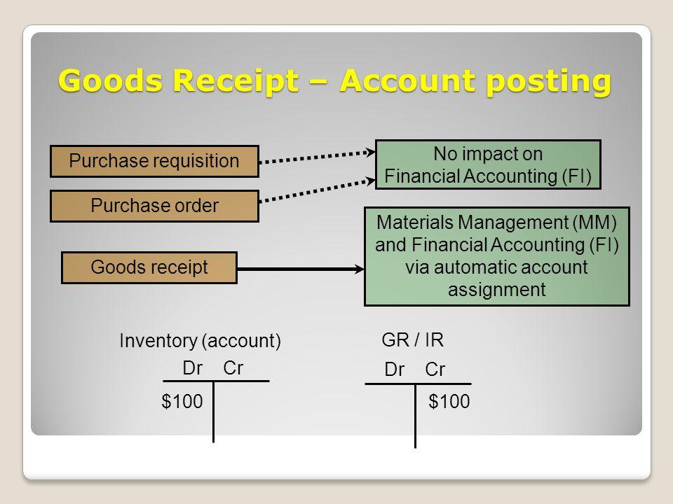 Goods Receipt – Account posting