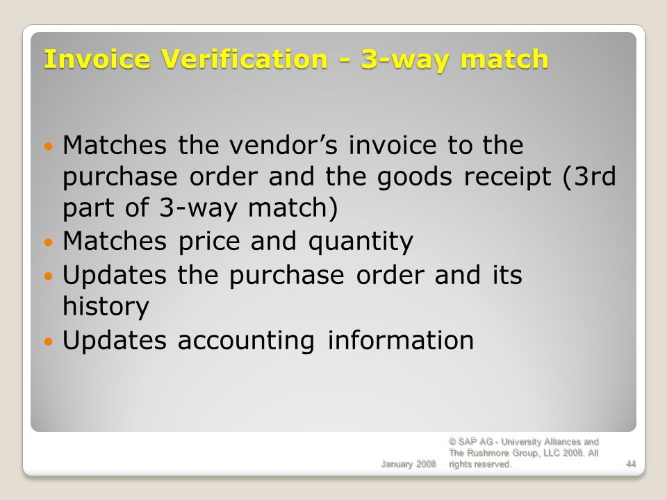 Invoice Verification - 3-way match