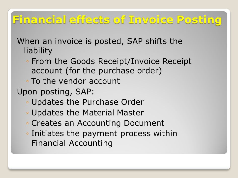 Financial effects of Invoice Posting