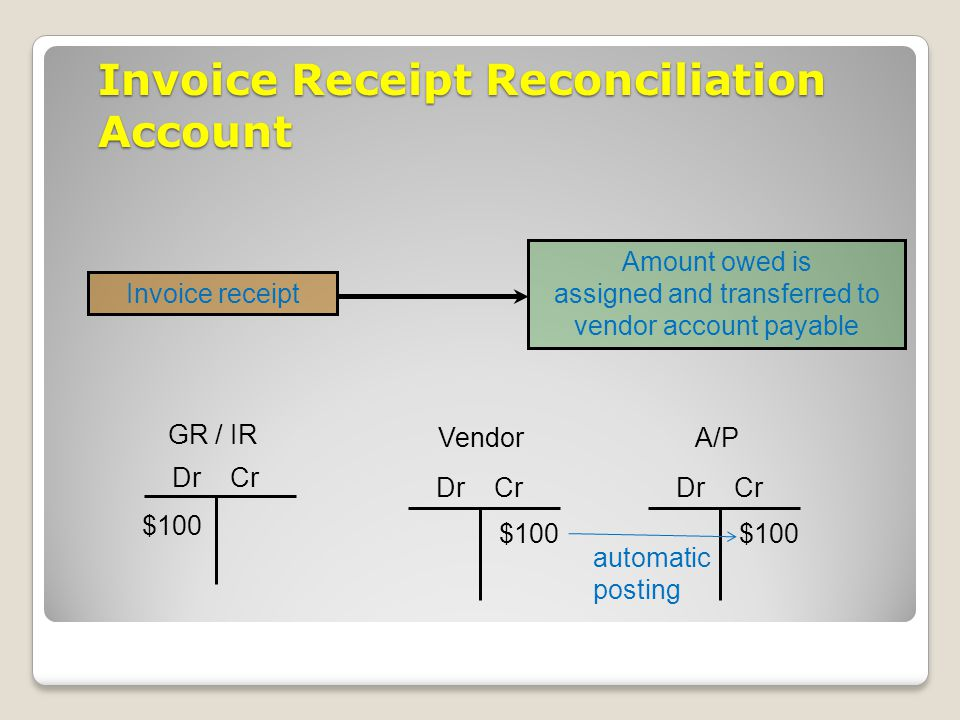 Invoice Receipt Reconciliation Account
