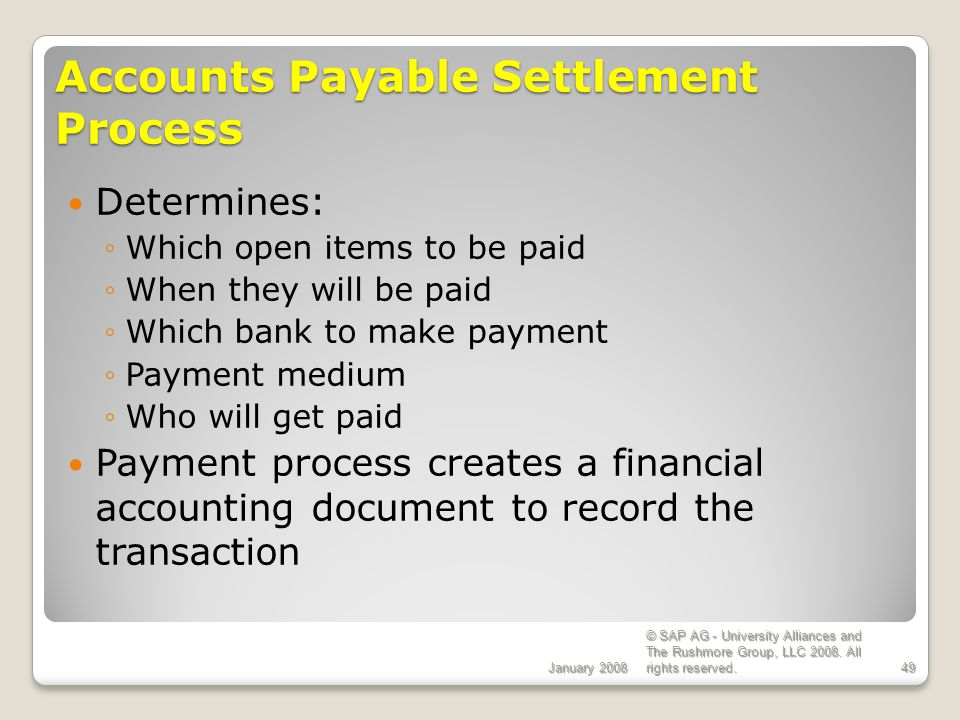 Accounts Payable Settlement Process