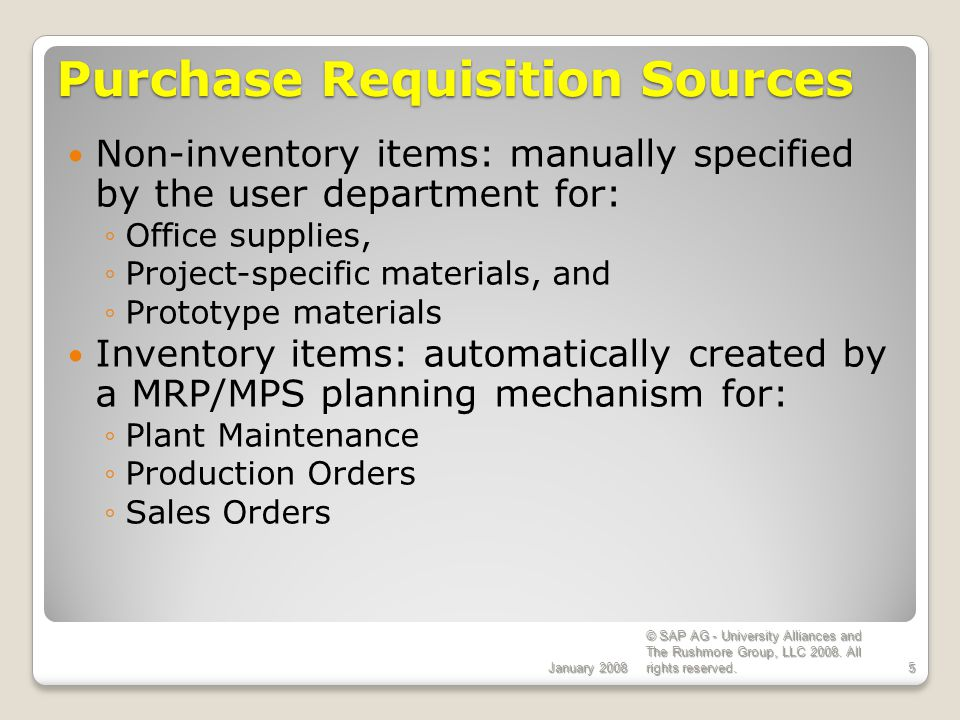 Purchase Requisition Sources