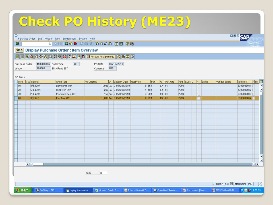 Check PO History (ME23) ECC 6.0 January 2008