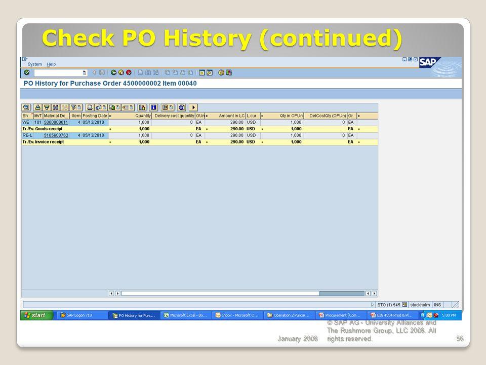 Check PO History (continued)