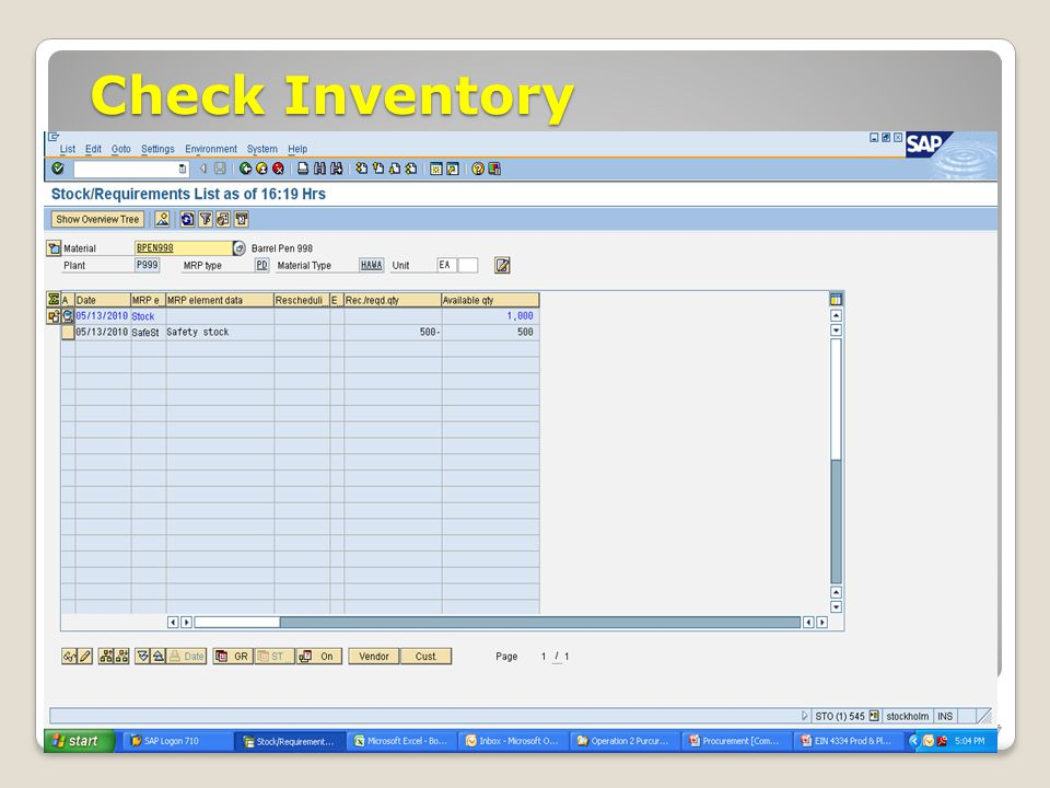 Check Inventory ECC 6.0 January 2008