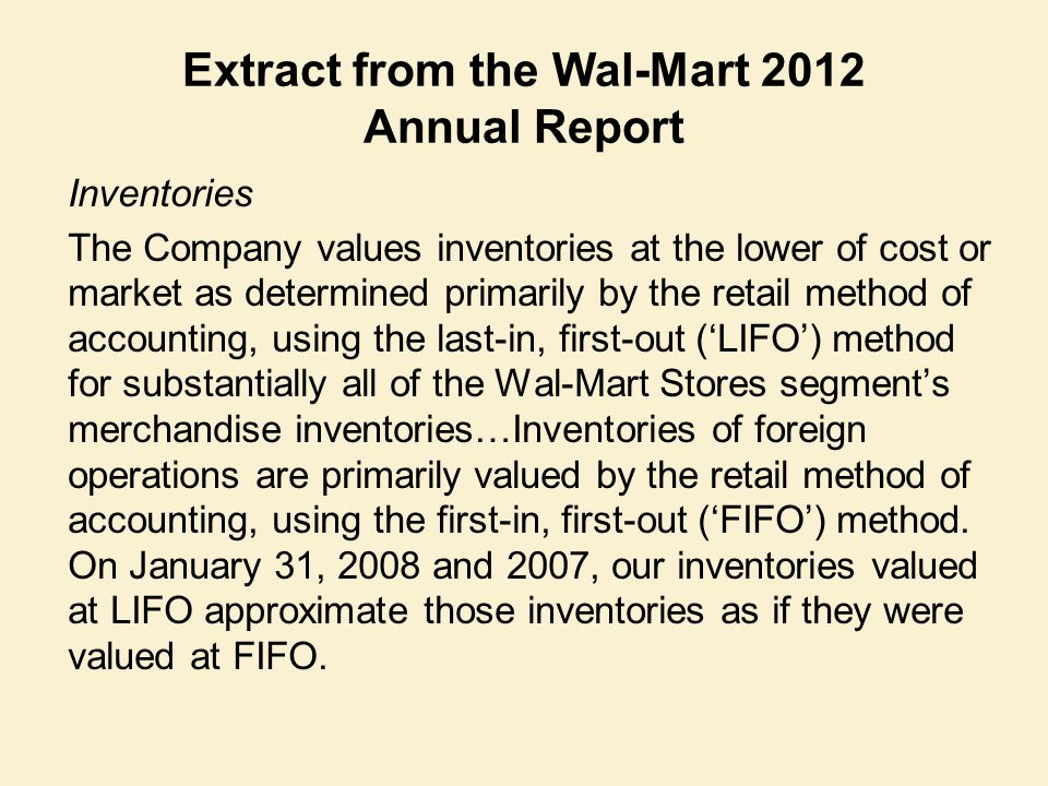 Extract from the Wal-Mart 2012 Annual Report