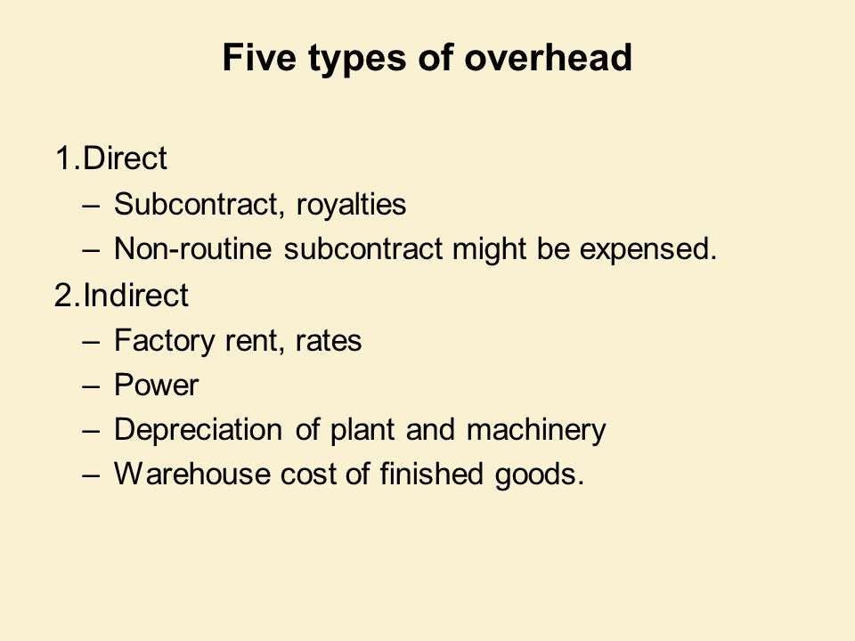 Five types of overhead Direct Indirect Subcontract, royalties