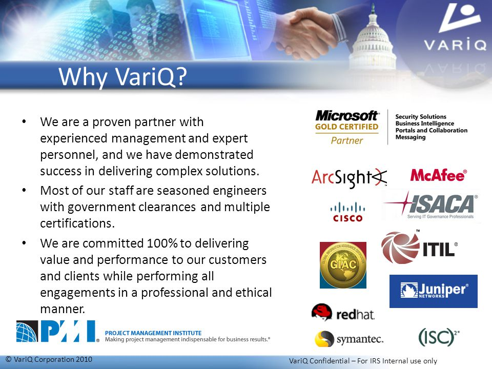 VariQ Confidential – For IRS Internal use only
