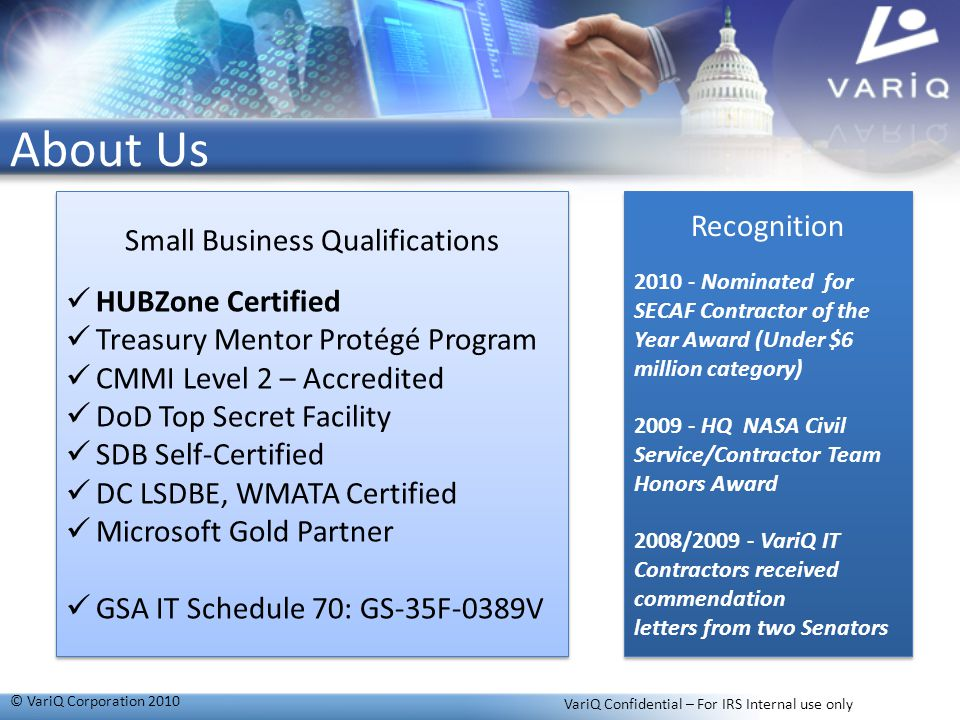 About Us Recognition Small Business Qualifications HUBZone Certified
