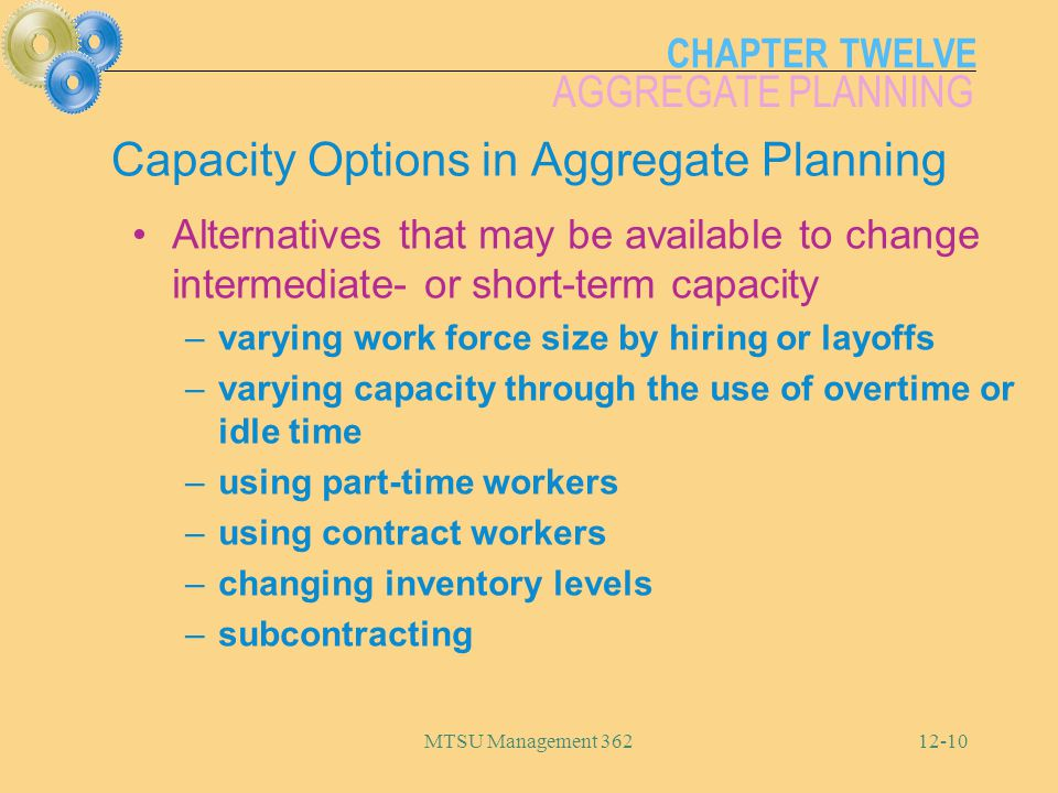 Capacity Options in Aggregate Planning