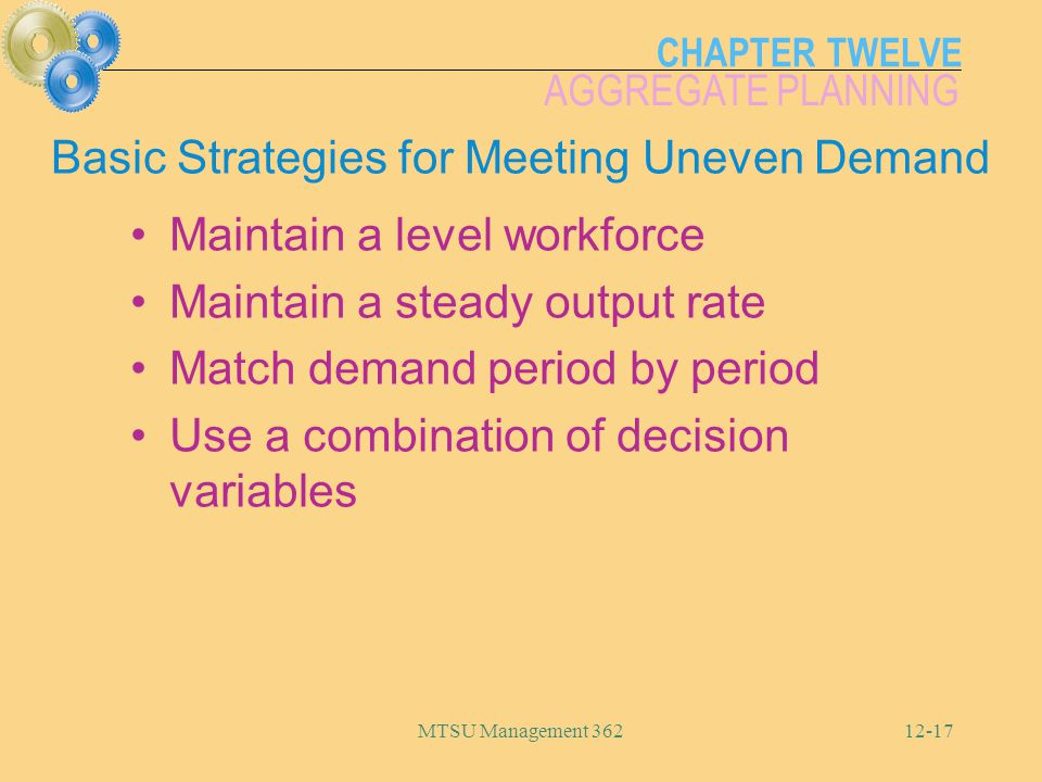 Basic Strategies for Meeting Uneven Demand