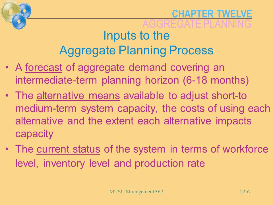 Inputs to the Aggregate Planning Process