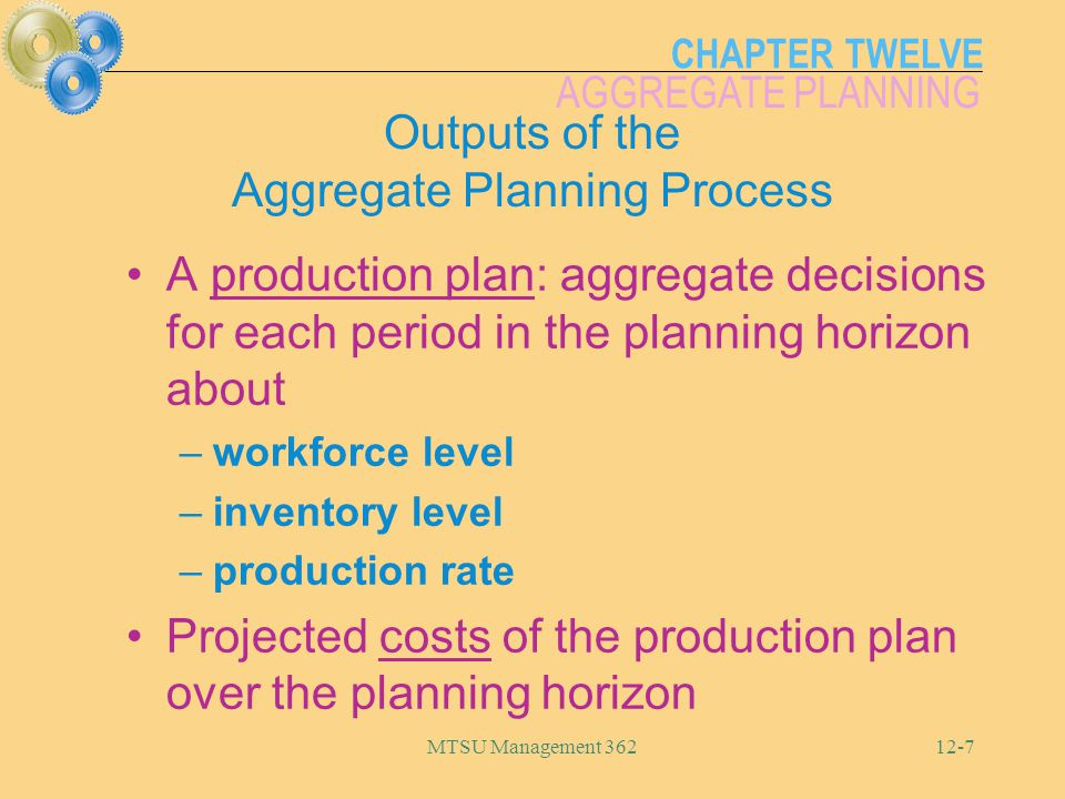 Outputs of the Aggregate Planning Process