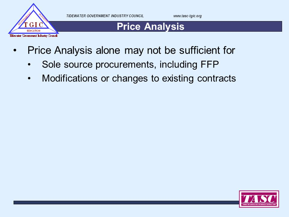 Price Analysis alone may not be sufficient for