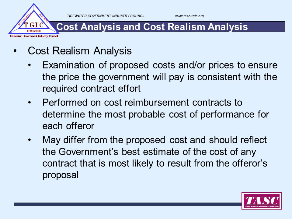Cost Analysis and Cost Realism Analysis