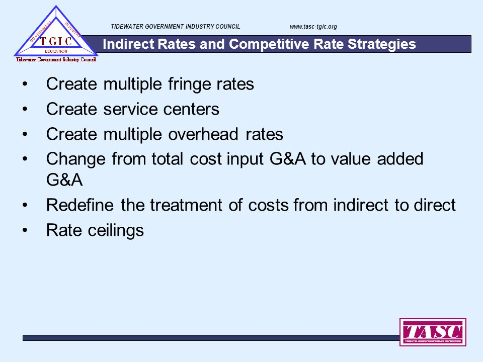 Indirect Rates and Competitive Rate Strategies