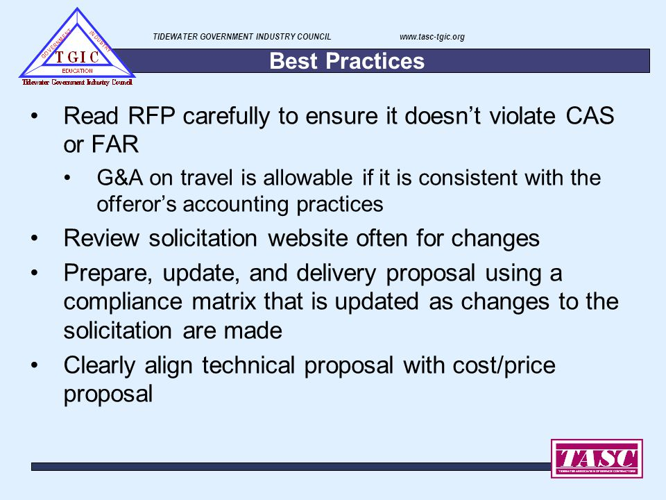 Read RFP carefully to ensure it doesn't violate CAS or FAR