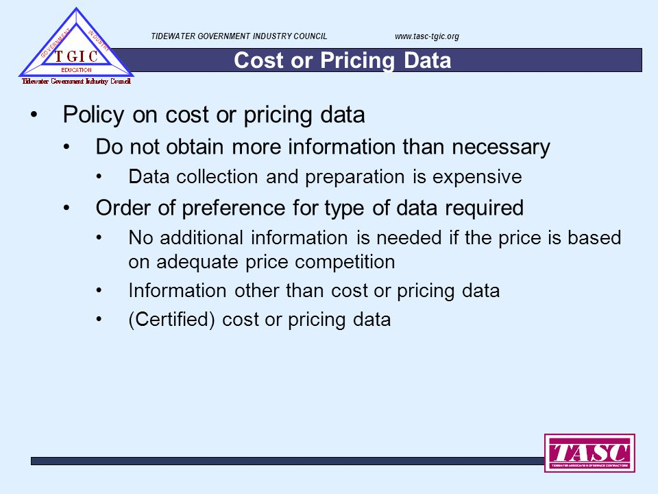 Policy on cost or pricing data
