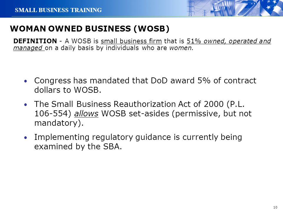 WOMAN OWNED BUSINESS (WOSB)