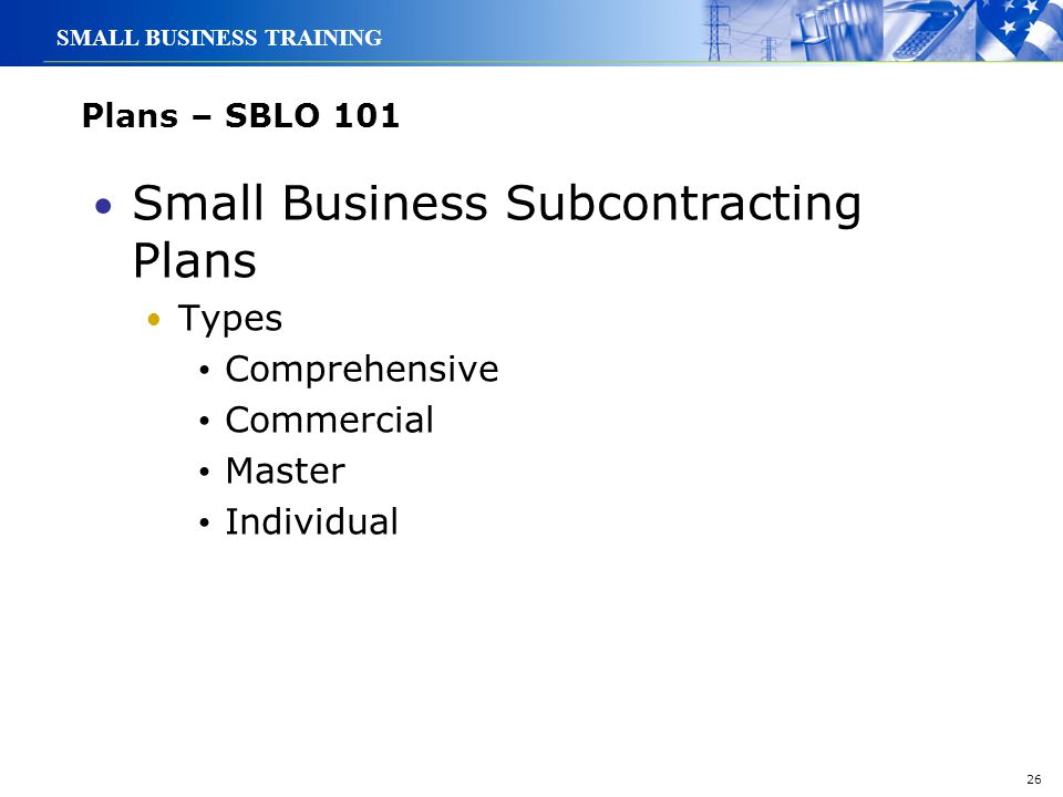 Small Business Subcontracting Plans