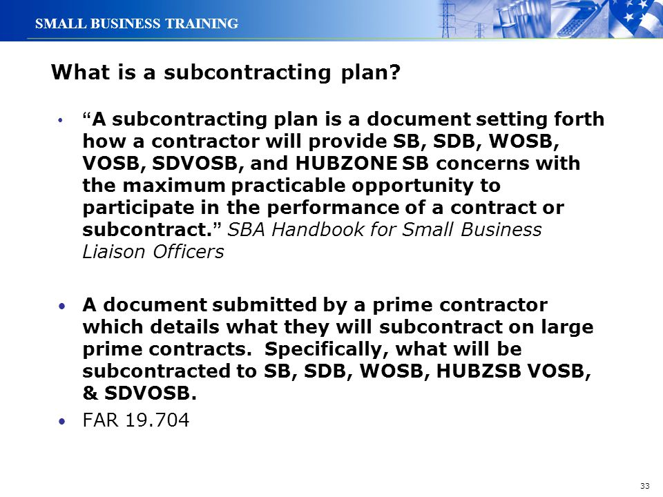 What is a subcontracting plan