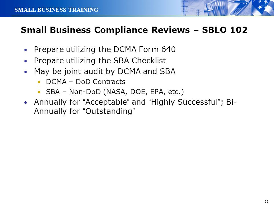 Small Business Compliance Reviews – SBLO 102