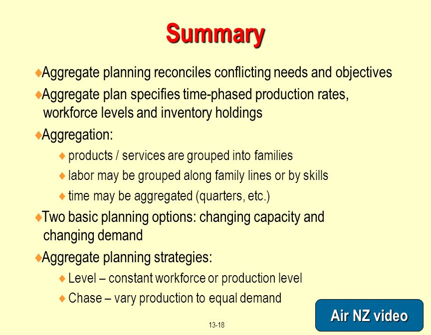 Summary Aggregate planning reconciles conflicting needs and objectives.