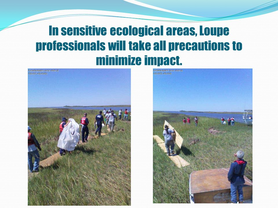 In sensitive ecological areas, Loupe professionals will take all precautions to minimize impact.
