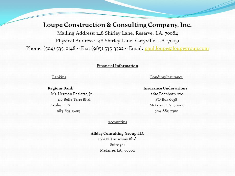 Loupe Construction & Consulting Company, Inc.