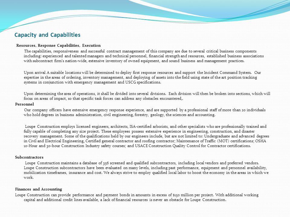 Capacity and Capabilities