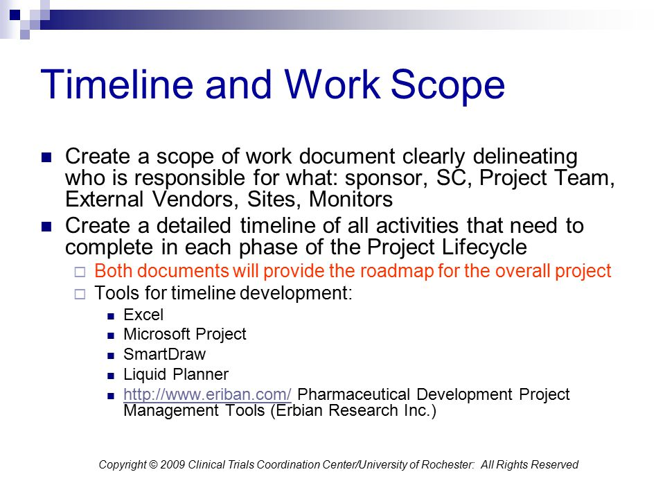 Timeline and Work Scope