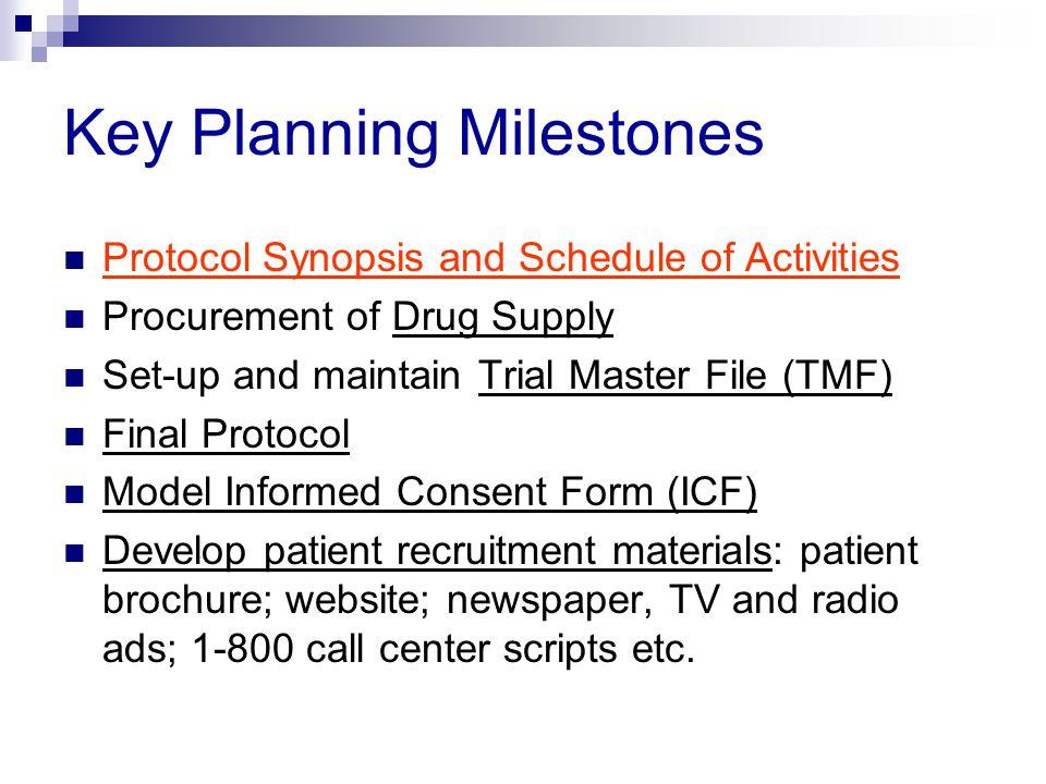 Key Planning Milestones
