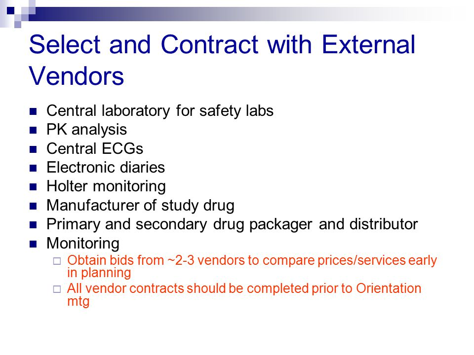 Select and Contract with External Vendors