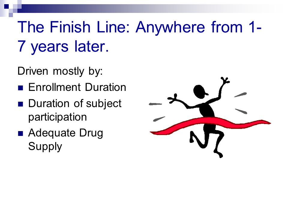The Finish Line: Anywhere from 1-7 years later.
