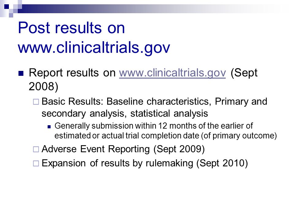 Post results on www.clinicaltrials.gov