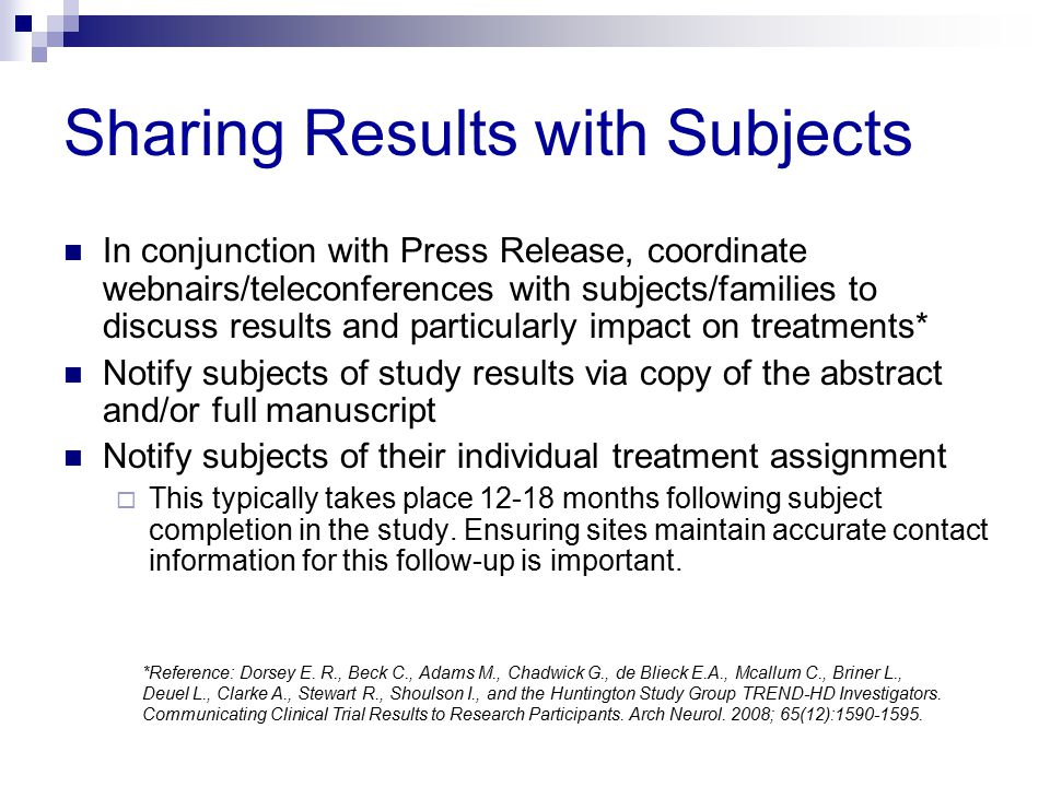 Sharing Results with Subjects
