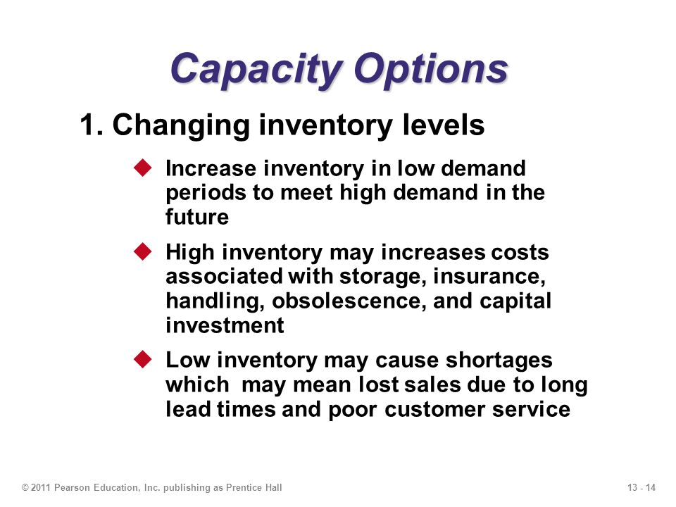 Capacity Options 1. Changing inventory levels