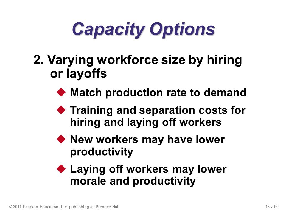 Capacity Options 2. Varying workforce size by hiring or layoffs