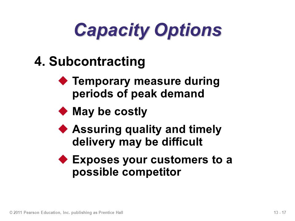 Capacity Options 4. Subcontracting