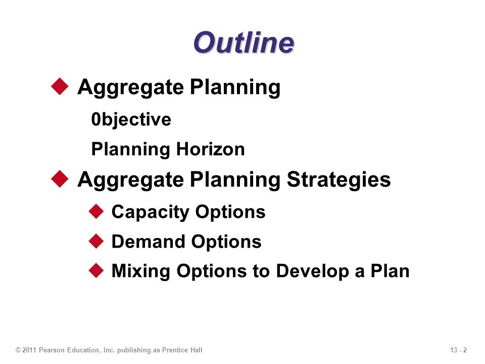 Outline Aggregate Planning Aggregate Planning Strategies 0bjective