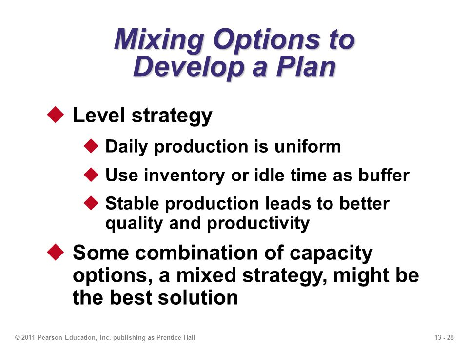 Mixing Options to Develop a Plan