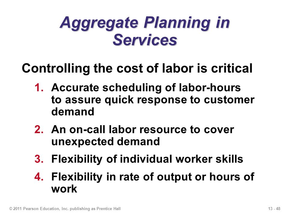 Aggregate Planning in Services
