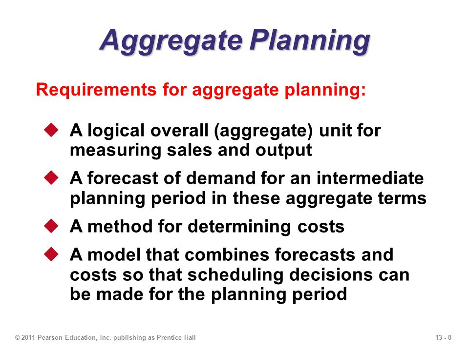 Aggregate Planning Requirements for aggregate planning: