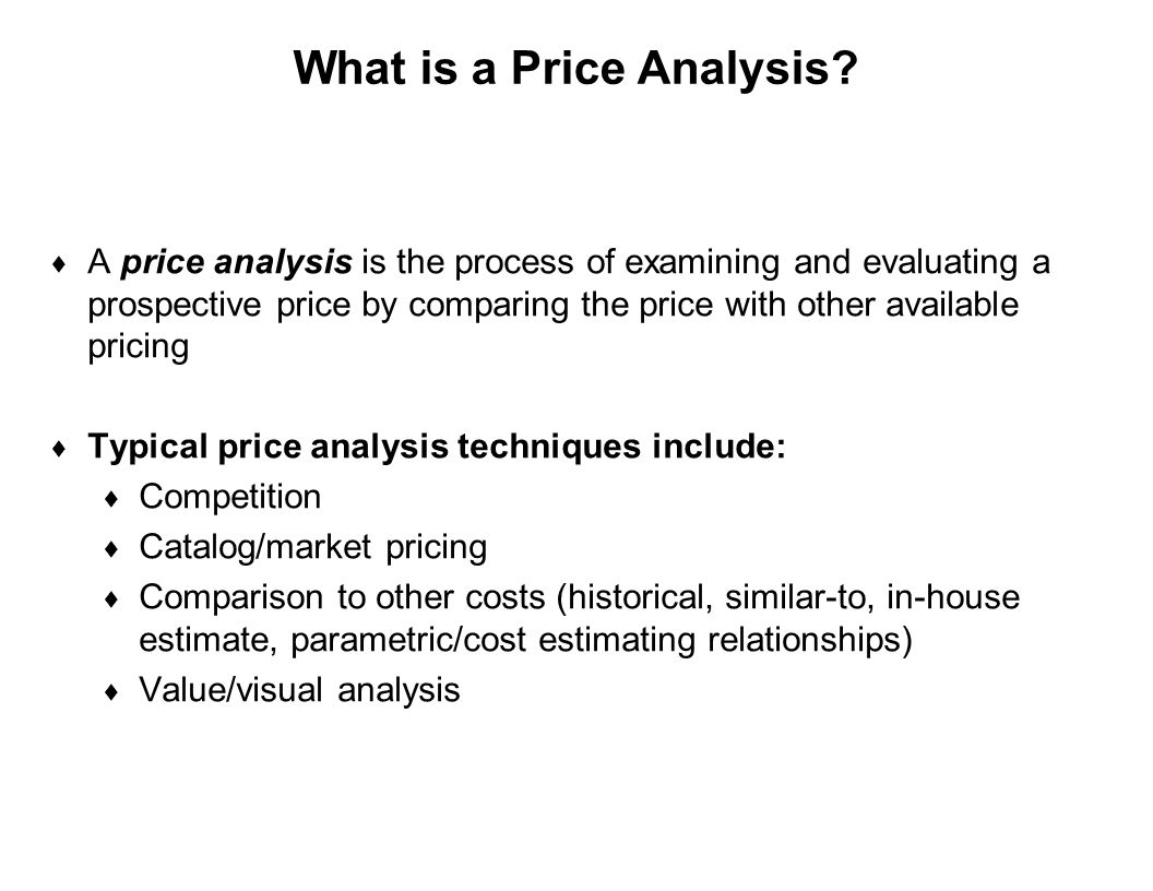 What is a Price Analysis
