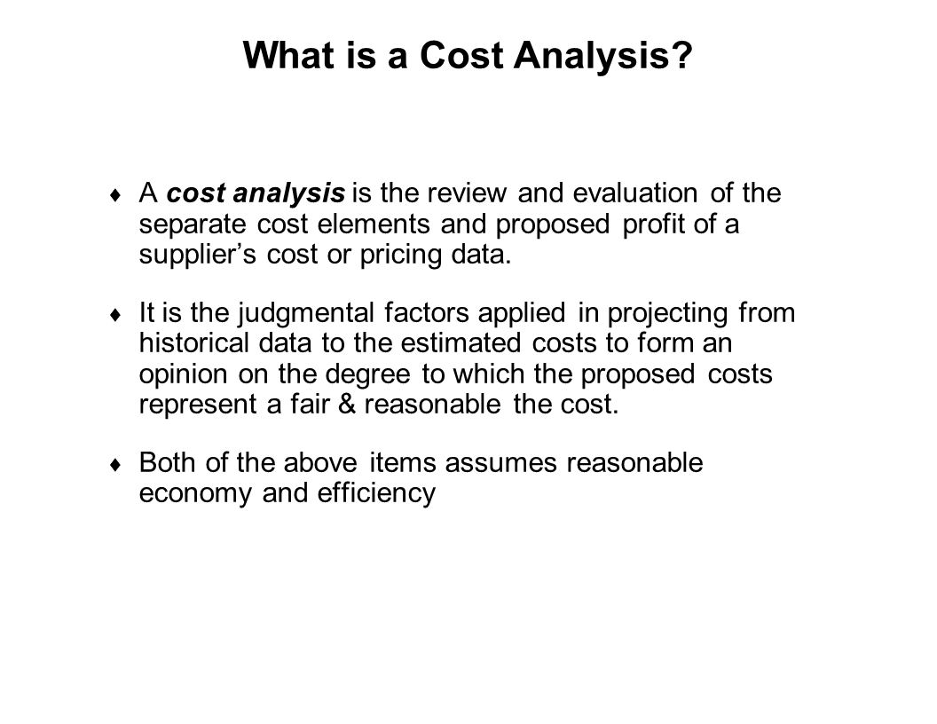 What is a Cost Analysis