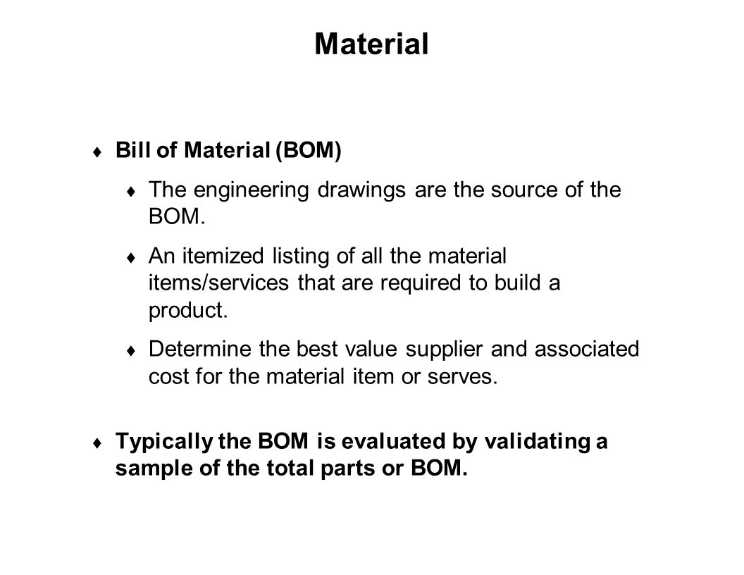 Material Bill of Material (BOM)