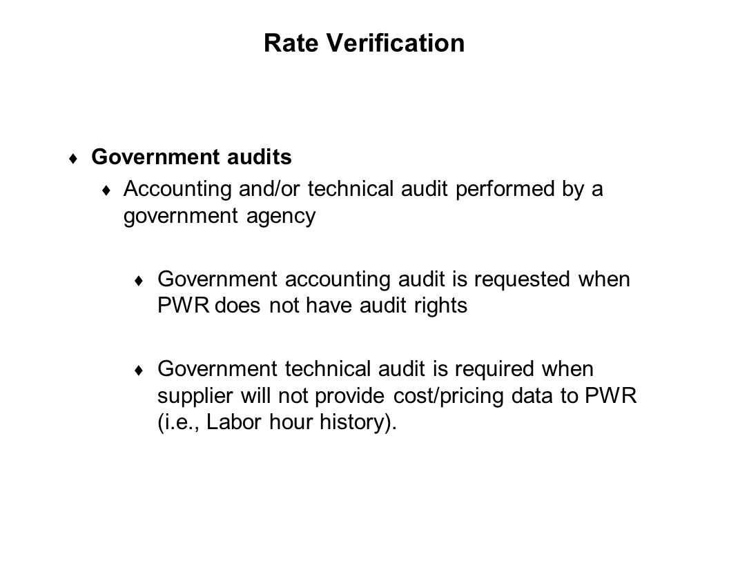 Rate Verification Government audits