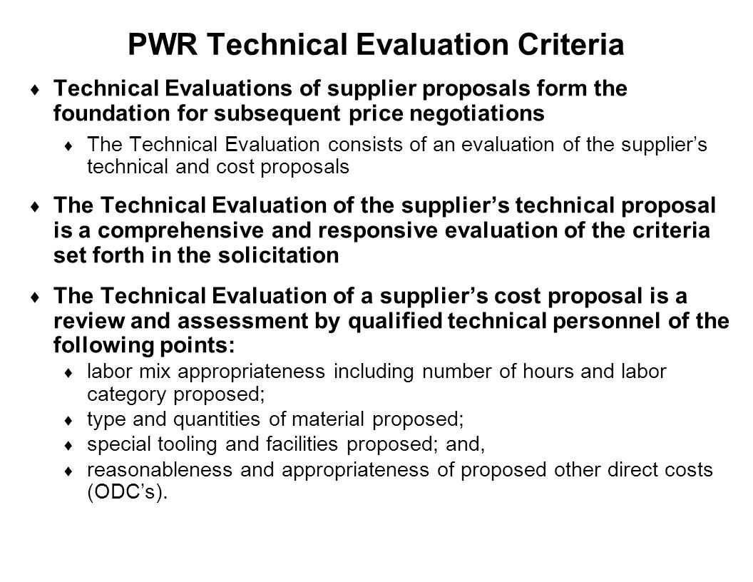 PWR Technical Evaluation Criteria